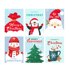 christmas greeting cards templates set cute vector image