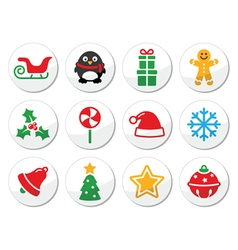 Christmas round icons set vector image