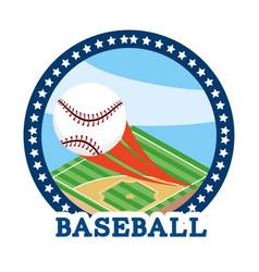 circle sticker with baseball ball equipment vector image