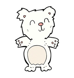 Comic cartoon cute polar bear cub vector