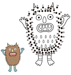 connect dots and draw a cute monster vector image