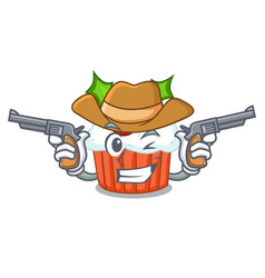 Cowboy character christmas cupcake with holly vector