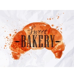 Croissant watercolor poster vector