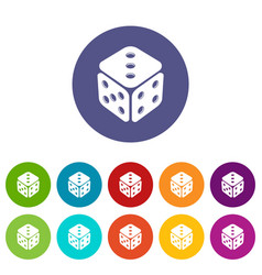 cube casino icons set color vector image