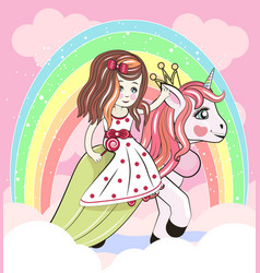 cute cartoon girl and unicorn vector image