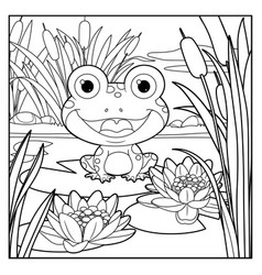 cute frog sits on leaf lily color linear vector image