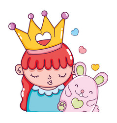 Cute girl with crown and nice mouse vector
