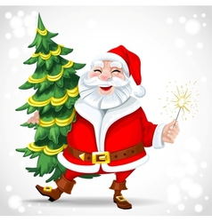 Cute Santa Claus holding Christmas tree vector image