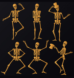 dancing golden skeletons vector image