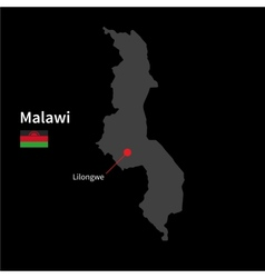 Detailed map of Malawi and capital city Lilongwe vector image