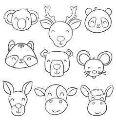 Doodle of animal head hand draw vector