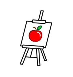 easel icon with picture painting art board canvas vector image