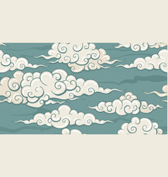Eastern seamless cloud pattern vector
