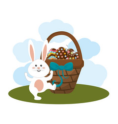 Eggs easter inside the hamper and rabbit dancing vector