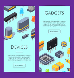 electronics cards microchips and vector image