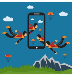 extreme selfie parachutist flat design vector image