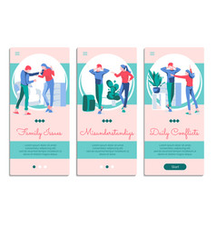 Family conflicts mobile app onboarding screens set vector