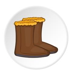 Felt boots icon cartoon style vector