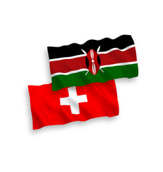 Flags kenya and switzerland on a white vector
