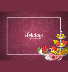 frame with food plates on background vector image