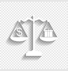 Gift and dollar symbol on scales white vector