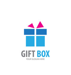 Gift box logo for business company simple vector