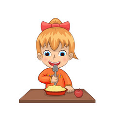 Girl eating breakfast meal vector