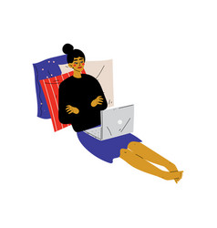 girl sitting on floor with laptop young woman vector image