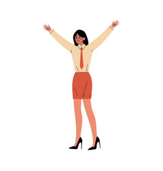 girl stands raising her hands up cartoon vector image