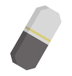 Gray rubber pencil eraser icon isolated vector