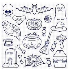Halloween Patches Set on Squared Paper vector