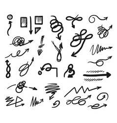Hand drawn curved and tangled doodle arrow set vector