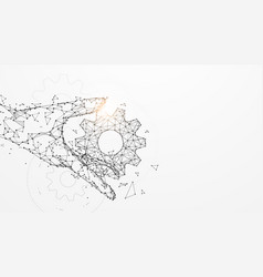 hand holding gears from lines and particle vector image