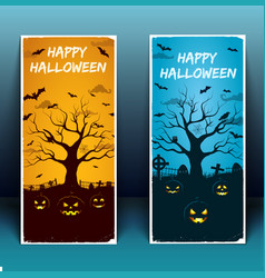 happy halloween banners with white frame vector image