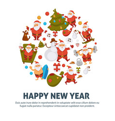Happy new year cartoon santa celebrating holiday vector