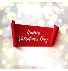 happy valentines day red abstract banner vector image
