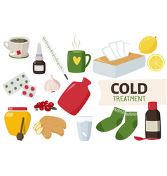 Home treatment and medicines for cold hand vector