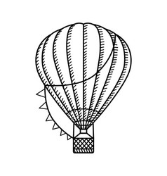 hot air ballon black and white vector image