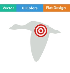 Icon of flying duck silhouette with target vector