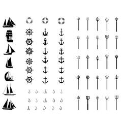Icons nautical vector