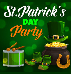 irish st patricks holiday symbols and lettering vector image