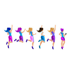 isometric a large set of girls in sportswear jump vector image