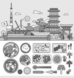 japanese breakfast flat line against the vector image