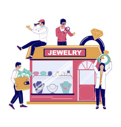 Jewelry store flat style design vector