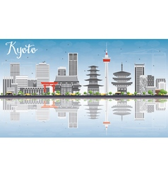 Kyoto Skyline with Gray Landmarks vector