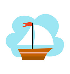 Little yacht on blue background vector