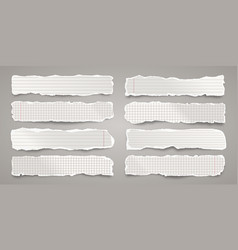 Long ripped paper strips realistic crumpled paper vector