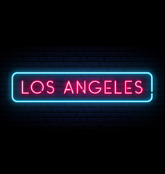 los angeles neon sign bright light signboard vector image