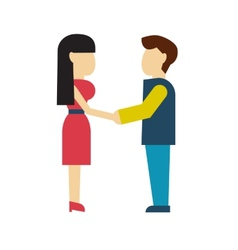 Man and woman holding hands style flat vector