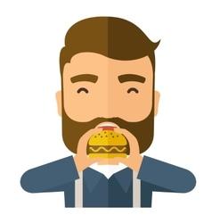 Man happy eating hamburger vector image